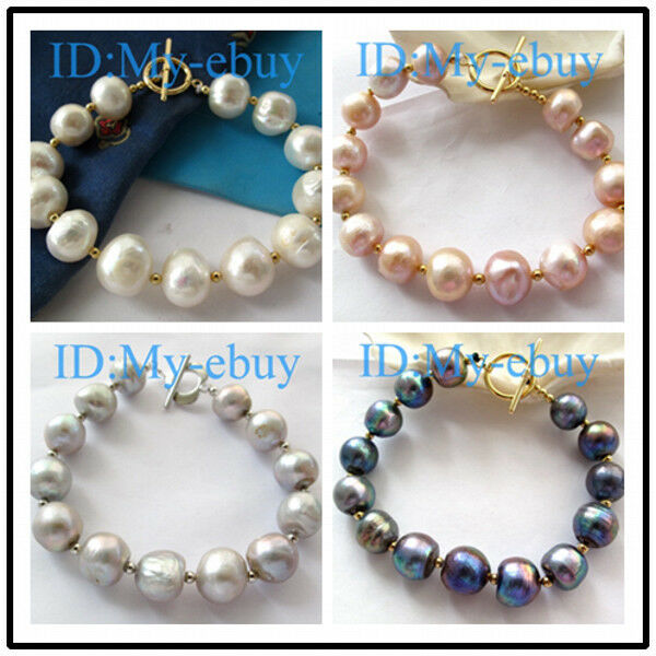 13mm White Nugget baroque Freshwater Pearl Bracelet 14KGP Toggle Clasp