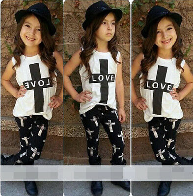 1-6Y 2Pcs Summer Baby Kids Girl LOVE T-shirt Outfits Tops + Pants Set Clothes