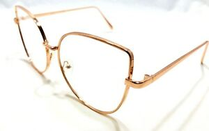OVERSIZE VINTAGE RETRO CAT EYE Style Clear Lens EYE GLASSES Huge Rose Gold Frame
