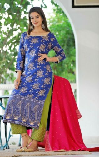 Women Kurta Kurti with Palazzo Dupatta Indian Ethnic Dress Set Top Tees Bottom S