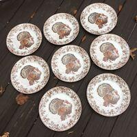 8 Williams Sonoma Plymouth Turkey Dinner Plates Set Of 8 Thanksgiving