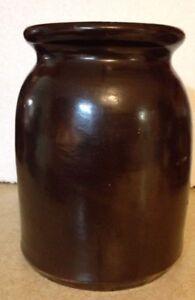 Vintage brown glazed stoneware  crock swirl bottom yellow ware