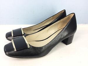 Naturalizer-N5-Comfort-Black-Leather-Low-block-Heel-Square-toe-6-Cocktail-Career