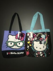 4d6b28374 Image is loading BNWT-HELLO-KITTY-RARE-NERD-TOTE-SHOPPER-HANDBAG-