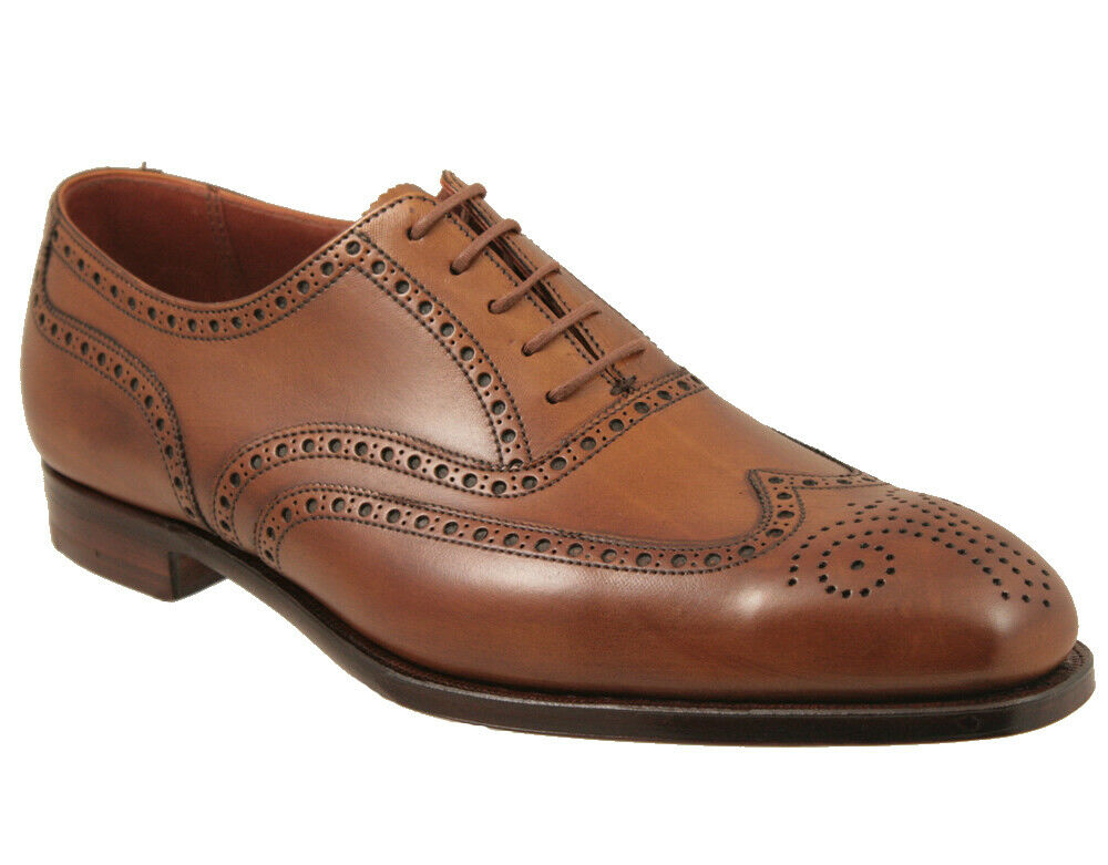 Mens Handmade shoes Classic Brogue Brown Leather Formal Dress Casual Wear Boots