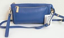 Zenith Convertible Cross Body Bag Cobalt Blue Pebbled Leather NWT