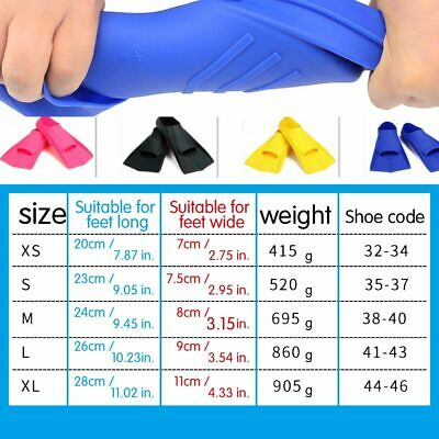 Adult Kids Silicone Full Foot Flippers Swimming Snorkelling Fins Swim Flippers