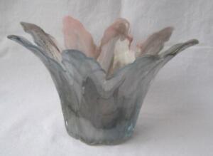 Genuine Italian Art Glass Bowl Gray Mauve Tammaro Made in Italy Murano No 292