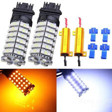 4 pcs 3157 120 SMD LED Switch Back Dual colors 80pcs Amber 40pcs White LED SA