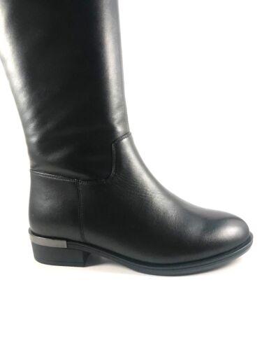 BoNavi 827D12-11 Black Leather Knee High Low Heel Boots