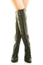 a395ac7c4d0 item 3 New Lace Up Combat Boots Almond Toe Over Knee Thigh High Block Chunky  Thick Heel -New Lace Up Combat Boots Almond Toe Over Knee Thigh High Block  ...