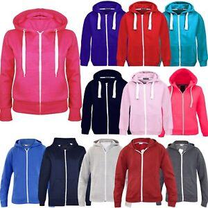 Kids-Girls-amp-Boys-Unisex-Plain-Fleece-Hoodie-Zip-Up-Style-Zipper-Age-7-13-Years