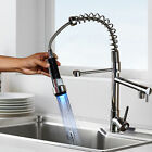 Brushed Nickel LED Colors Kitchen Sink Faucet Swivel Pull Down Spray Mixer Tap1