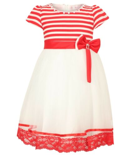 Girls//Kids Red Stripy /& White formal dress with Diamond detail red /& white bow
