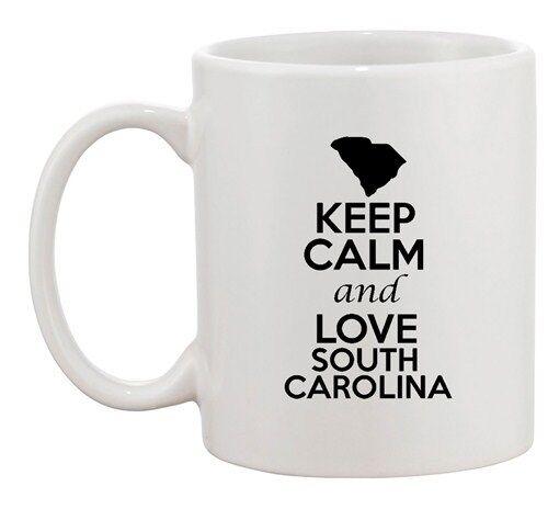 Keep Calm And Love South Carolina Country Map Patriotic Ceramic White Coffee Mug