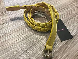 PAUL SMITH Cinturón Fino Cuero Dorado trenzado talla 81,3cm -99,1cm