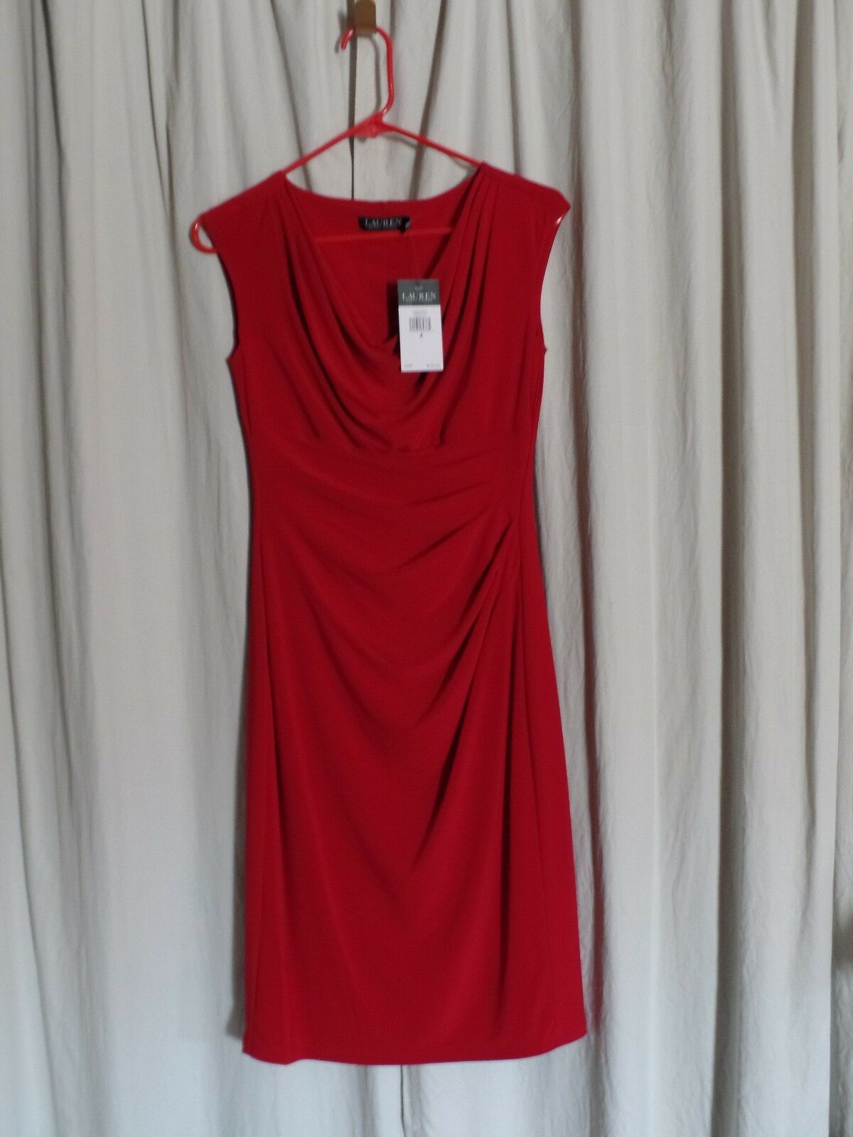 NWT Lauren Ralph Lauren Essentials Red Fit & Stretch Sheath Ruched Dress Size 4