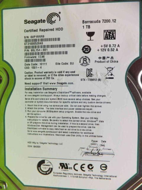 1 TB 1000 GB Seagate ST31000528AS | P/N 9SL154-881  | CC46 | Festplatte