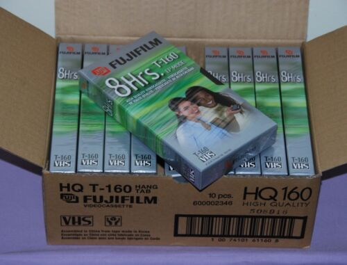 Box of 10 Fujifilm 8 Hrs Standard High Quality T-160 Blank VHS Video Tapes NEW