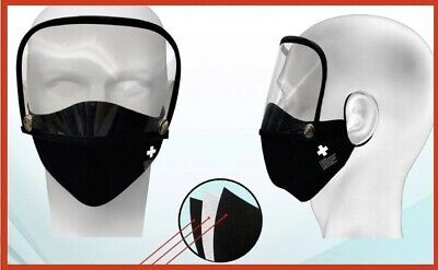 2 In 1 Washable Face Mask With Filter And Eye Shield Ebay