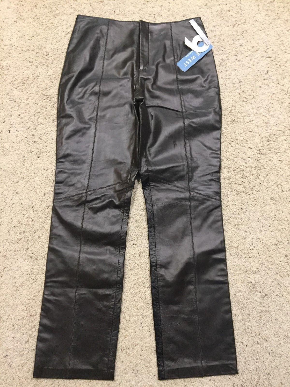 NWT  159  NINE WEST  100% LEATHER Dark Brown PANTS size 6  NEW  K7