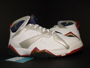 2f5bd97d2f31 2004 Nike Air Jordan VII 7 Retro OLYMPIC WHITE GOLD BLUE RED 304775 ...