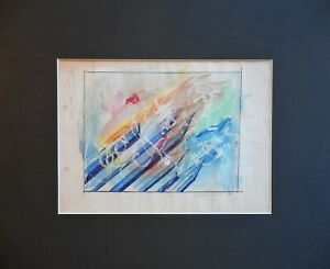 Geometric-Abstract-Watercolour-by-listed-US-artist-Ronald-Wendell-Davis-1977