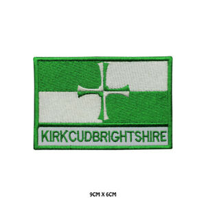 KIRKCUDBRIGHT County Flag With Name Embroidered Patch Iron on Sew On Badge