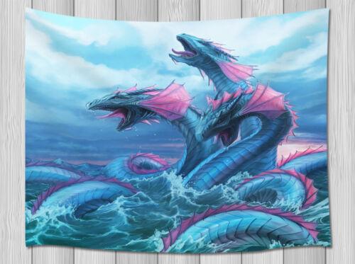 Blue Dragon de três cabeças tapeçaria de parede pendurado Sala Quarto Dormitório Decoração