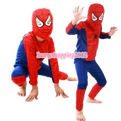 Boys Girls Kids Fancy Dress Party Costume Superhero Spiderman Outfits 3-7Years