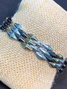 Vintage gold Black And Silver Tone Interesting link stretch bracelet