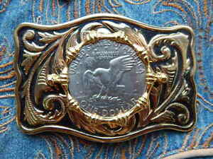 NEW LARGE AMERICAN USA ONE DOLLAR COIN EAGLE BELT BUCKLE GOLD METAL ... 12fd1bd8d78