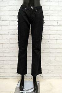 Pantalone-GIANFRANCO-FERRE-Donna-Taglia-Size-27-Jeans-Pants-Woman-VIta-Alta-Nero