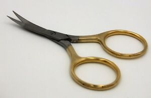 4-034-Premium-Curved-Fly-Tying-Scissors-Gold-Handle-Large-Finger-Loop-Holes-FF229