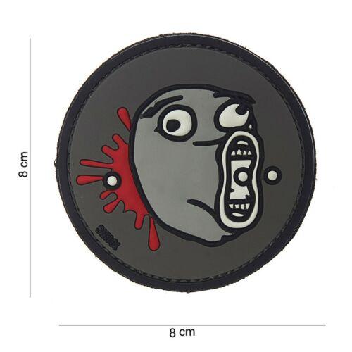 LoL Meme Face grau Patch Klett Abzeichen Airsoft Paintball Softair
