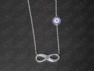 925-Sterling-Silver-Infinity-Evil-Eye-Mati-Nazar-Necklace-Cubic-Zirconia-CZ