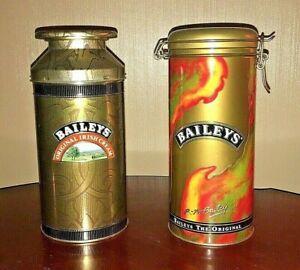 Set of 2 Bailey's Irish Cream Milk Cans Tins * 1992 & 1995 * Produce of Ireland