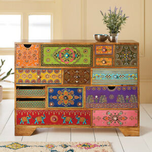 Hand Painted 14 Drawer Cabinet Chest Bedroom Living Room ...