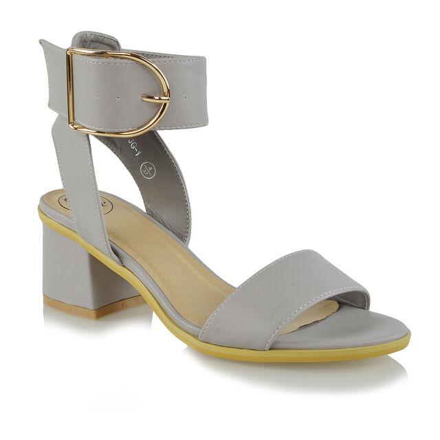 60fca2bedc55 Ladies Ankle Strap Sandals Low Block Heel Womens PEEP Toe Party ...