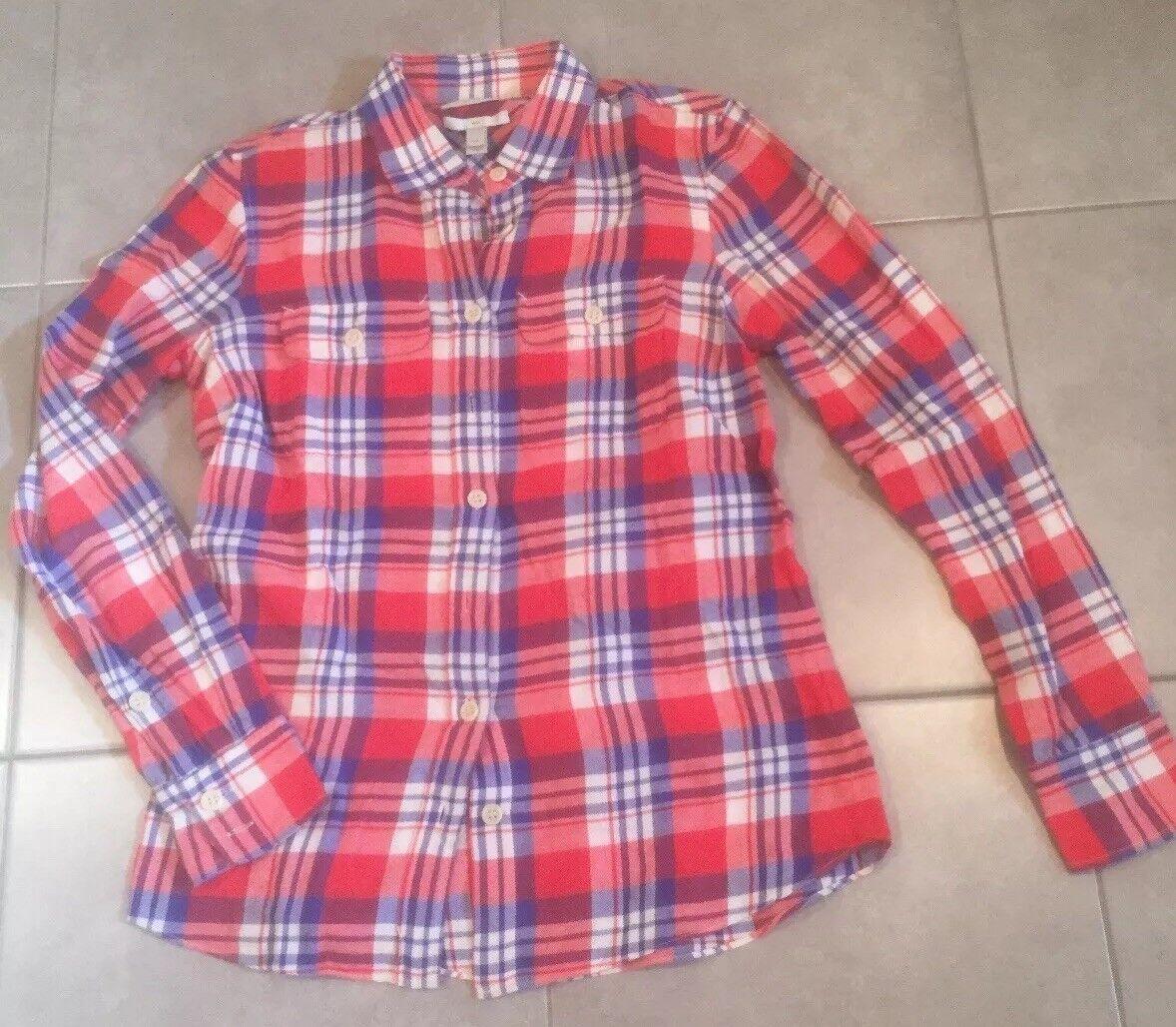 J CREW Woherren Plaid Button Down Shirt Größe 00 Blouse