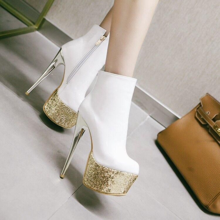 Sexy Womens Clubwear Shiny Platform Super High Stiletto Heels Pumps Shoes