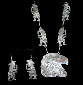 Amazing Navajo Hand Etched In Sterling Silver Necklace and Hook Earring Set