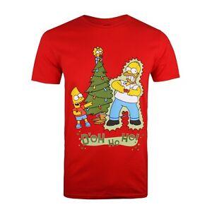 The-Simpsons-Homer-Shock-Christmas-Mens-T-shirt-Red