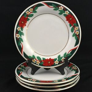 "Lot of 4 VTG Salad Plates 7 1/4"" by Tienshan DECK THE HALLS Christmas Poinsettia"