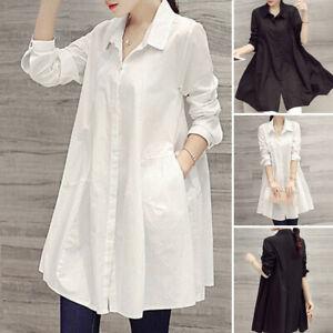 Women-Long-Sleeve-Oversized-Tops-Solid-T-Shirt-Tunic-Casual-Blouse-Shirt-Dress