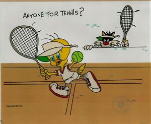 Sylvester-and-Tweety-Bird-034-Anyone-For-Tennis-034-Sericel-cel-1992-WB-Serigraph