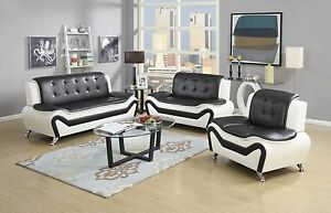 Charmant A Imagem Está Carregando Wanda White Black Bonded Leather Sofa Set 3PC