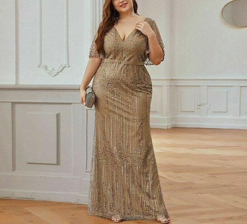 Party Gowns Wedding Dresses Plus Size Sparkle Sequined Ruffles Sleeve V Neck New