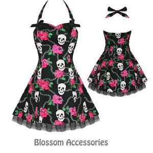 RKH19-Hearts-amp-Roses-Skull-Punk-Gothic-Short-Rockabilly-Dress-50-039-s-Vintage-Swing