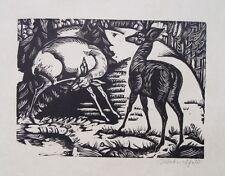 Adolf Weber-Scheld Frankfurt Expressionismus Deer Reh Rehe Jagd Jäger Franz Marc